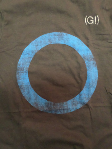 Germs black tee with distressed blue circle logo