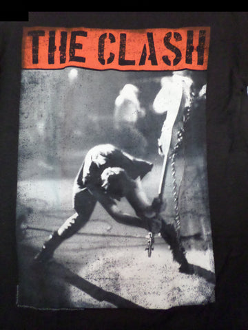 Clash black tee London calling with man smashing guitar