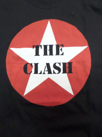 Clash black tee with The Clash printed in white star with red circle around it