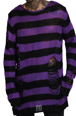 purple and black striped sweater relaxed fit distressed detailing