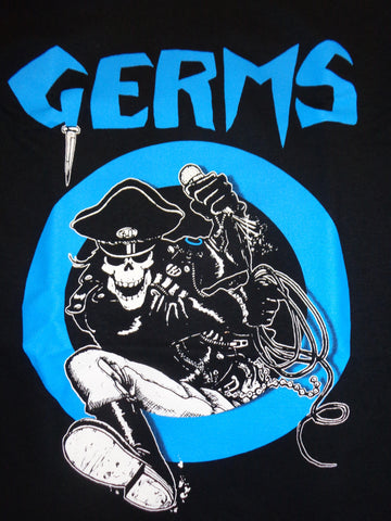 Germs black tee with blue print of pirate skeleton in germs circle