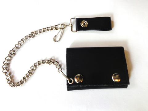 "black leather 4""wallet with chain"