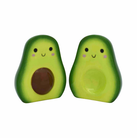 ceramic split avocado salt and pepper shakers with cute faces