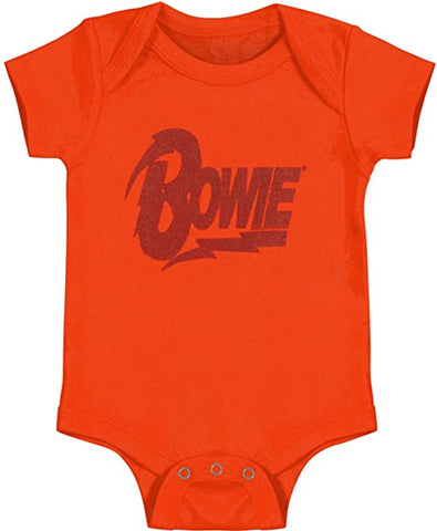 Orange onesie Bowie with lightning bolt