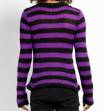 purple and black striped acrylic sweater no rips in back