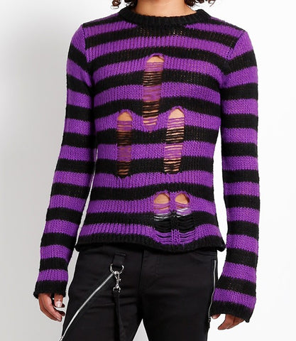 purple and black striped acrylic sweater with rips in front