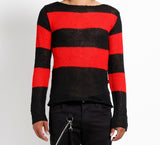 red and black wide stripe sweater mohair sweater