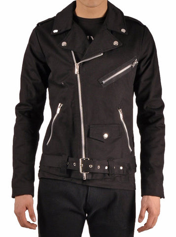 Tripp black denim moto jacket cloth with zippers