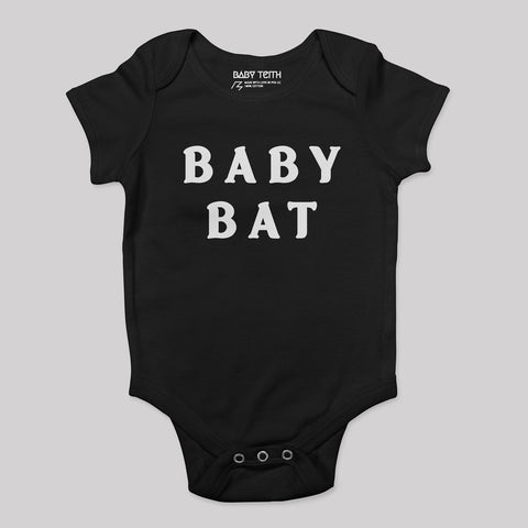 black onesie baby bat wording print