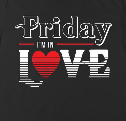 black tee with Friday I'm in Love graphic Cure inspired