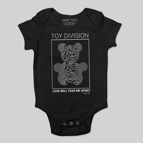 black onesie says Toy Division bear with love will tear me apart joy division inspiration