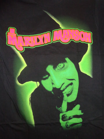 Marilyn Manson Smells Like Children black tee with green graphics and pink logo
