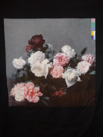 New Order Power Corruption and Lies black tee with flowers graphic no band logo