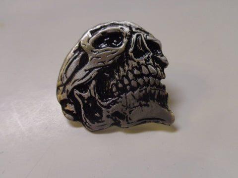 skull pin pewter