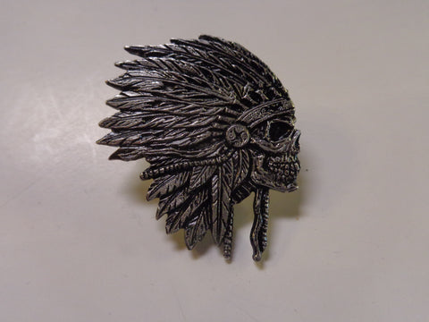 skull with headdress pewter pin