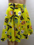 yellow a-line skater skirt with vintage inspired masks print
