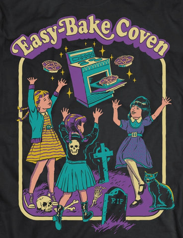 Easy bake coven black tee with coven oven and pentagram pies