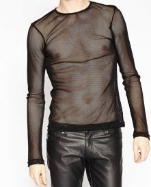 Tripp mens black fishnet long sleeved top