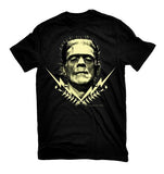 Frankenstein glow in the dark print on mens black tee
