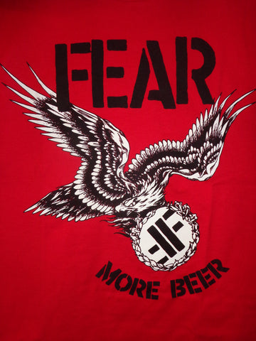 Fear More Beer red tee with eagle and fear logo