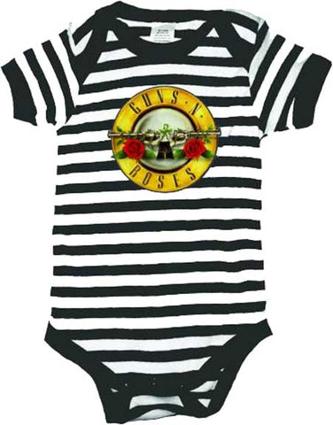 Guns and Roses black and white striped onesie with guns and roses logo