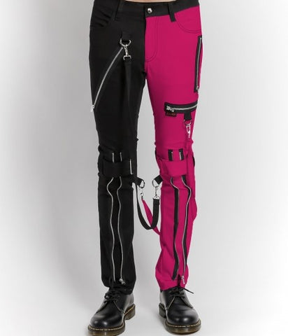 neon pink and black split leg bondage pants with zippers and straps
