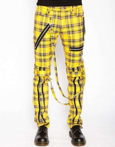 Tripp yellow plaid bondage pants with straps and zippers