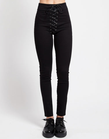 black skinny pants with faux leather corset lacing front to back