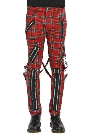 red plaid bondage pants with zippers and straps