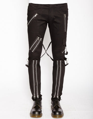 Tripp black bondage pant slim leg with zippers and straps