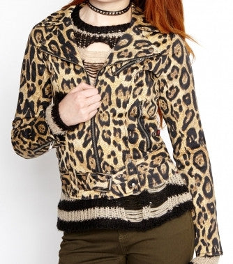 Natural leopard moto jacket