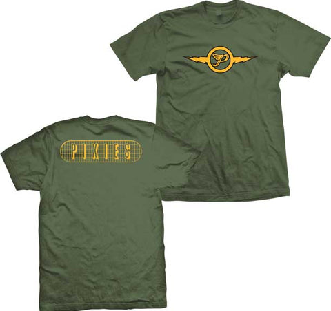 Pixies tshirt olive green with yellow print flying P logo and Pixies name on back