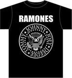 Ramones Presidential Logo Black T-Shirt with eagle and band's names in a circle