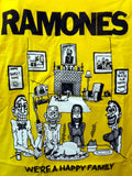 Ramones we're a happy family bright yellow tee with cartoon family image
