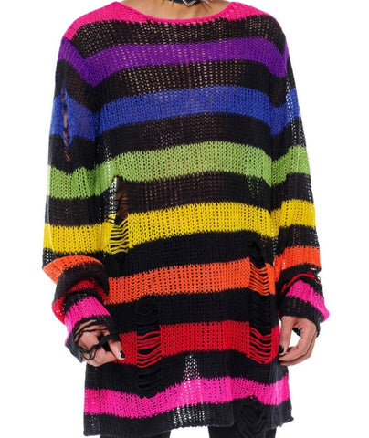 Oversized knit unisex sweater alternating colors of the rainbow with black stripes