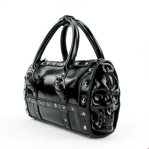 Black vinyl studded skull handbag