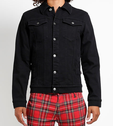 black denim jacket with button down front 2 chest pockets and 2 side pockets