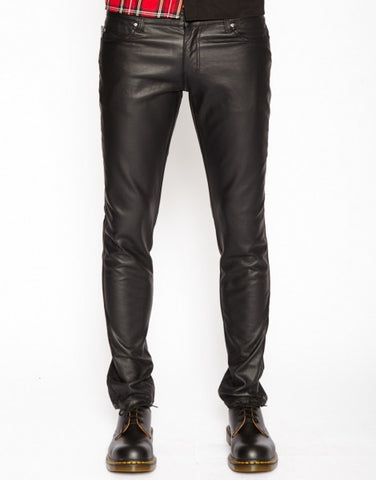 mens black faux leather pants matte finish vegan