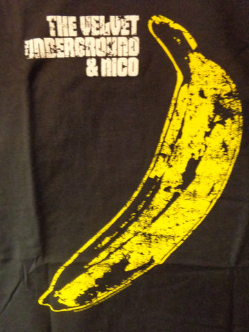 Velvet Underground black tee with distressed banana print