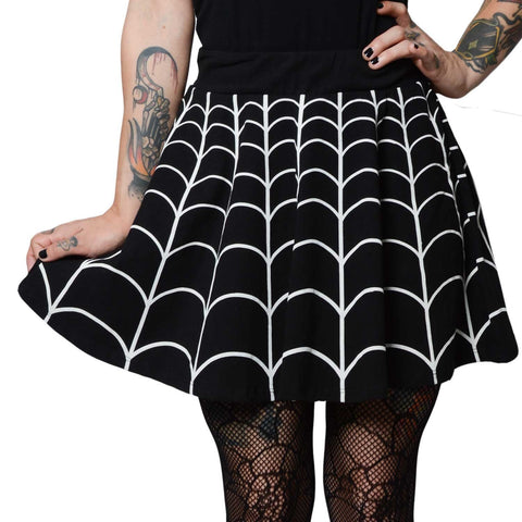 Web Skater Skirt black and white Kreepsville 666