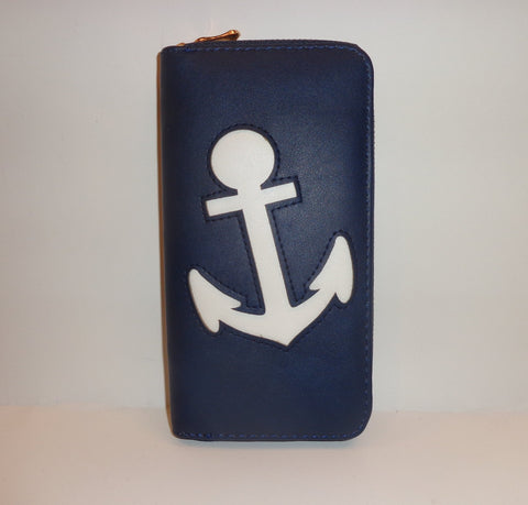 navy zippered wallet with anchor
