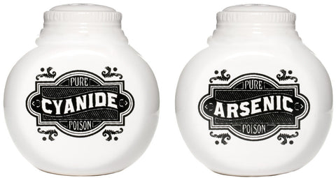 arsenic and cyanide salt and pepper shakers white with black print ceramic