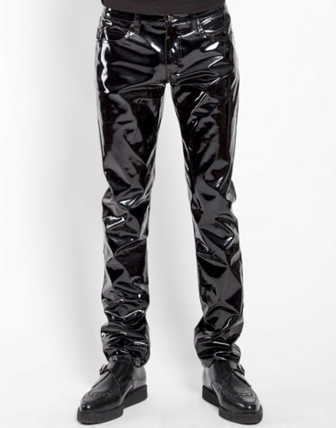Tripp mens black slim cut shiny vinyl pant
