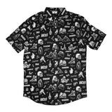 vintage horror comics graphic on black button up shirt