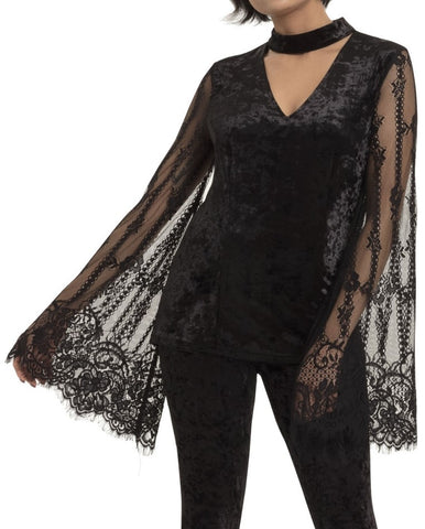 black velvet top with choker neckline and exagerated black lace bell sleeves