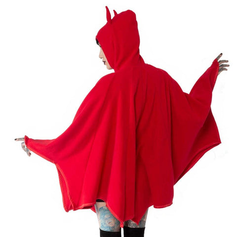 red polar fleece bat wing cape with devil horns