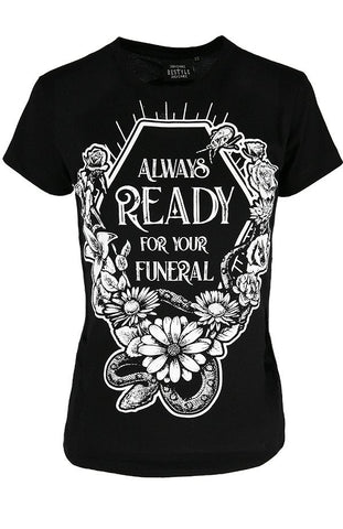 womens black fitted printed tee always ready for your funeral