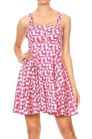 cats in pajamas fushia a line dress