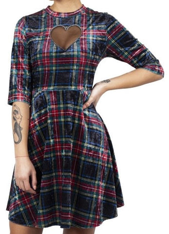 velvet tartan dress with heart mest cutout