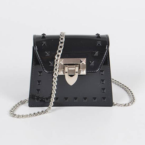 black shiny PVC mini crossbody bag with silver chain and studs